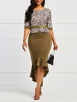 Double-Layer Office Lady Leopard Women's Bodycon Dress