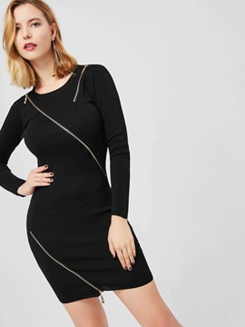Round Neck Long Sleeve Zip Bodycon Dress