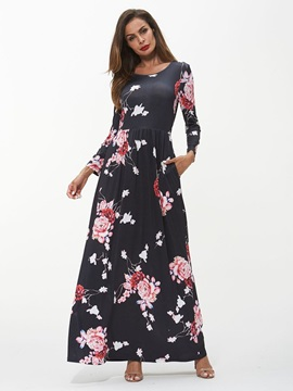 Micro-Elastic Pocket Print Floral Women's Maxi Dress