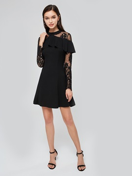 Ruffle Shoulder Lace Sleeve A-Line Dress