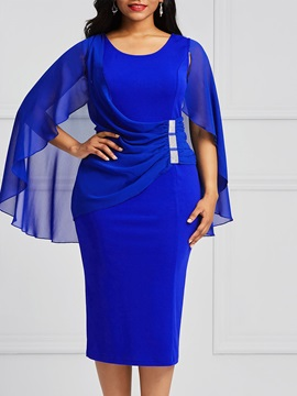 Batwing Sleeve Pleated Plain Women's Bodycon Dress