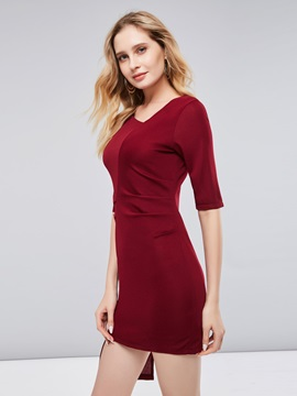 3/4 Sleeve Asym Burgundy Women's Bodycon Dress