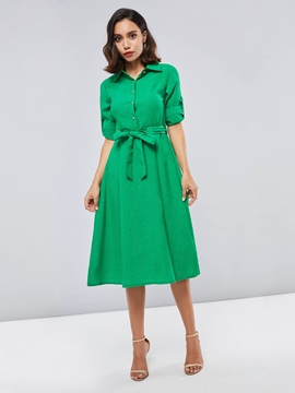 Green Single-Breasted Lapel Women's Long Sleeve Dress
