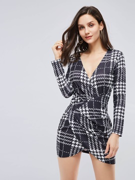 Long Sleeve Classic Prints Women's Bodycon Dress