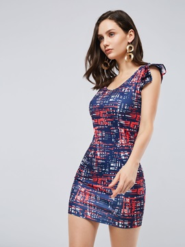 Round Neck Short Sleeve Prints Bodycon Dress