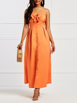 Sleeveless Sexy Button Backless Women's Maxi Dress