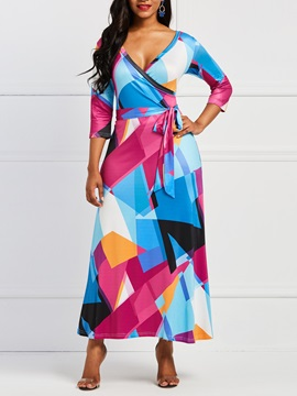 Color Block Geometric Print Women's Maxi Dress