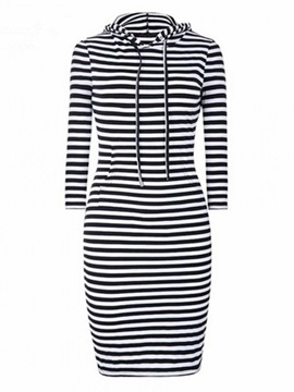 Hooded Stripe Regular Women's Bodycon Dress