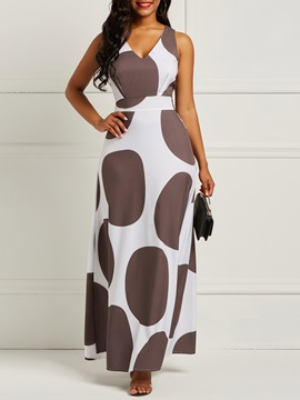 Polka Dots V Neck Vintage Women's Maxi Dress