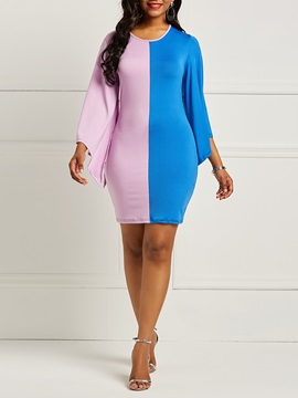 Color Block Pencil Sexy Women's Bodycon Dress