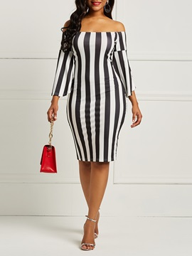 Flare Sleeve Backless Stripe Women's Bodycon Dress