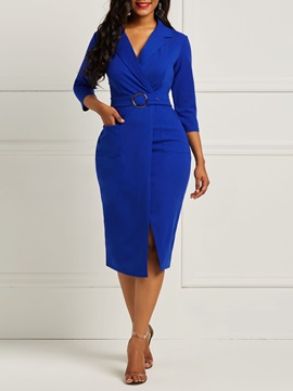 Notched Lapel Belt Pocket Women's Pencil Dress