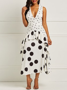 Polka Dots V Neck Vintage Falbala Women's Maxi Dress