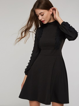 A-Line High-Waist Women's Long Sleeve Dress