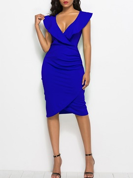 Cap Sleeve V Neck Plain Women's Bodycon Dress