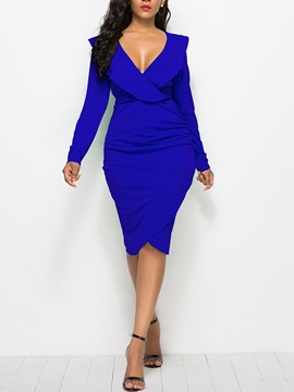 Long Sleeve Falbala V Neck Women's Bodycon Dress