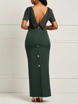 Short Sleeve Backless Button Women's Maxi Dress
