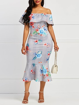 Off Shoulder Mermaid Floral Women's Bodycon Dress