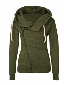 Solid Color Zip Open Front Women's Hoodie