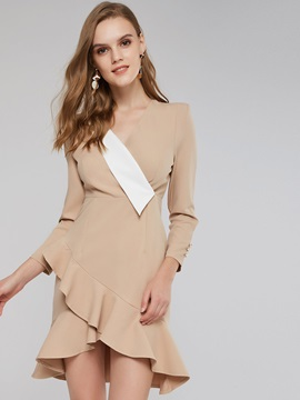 Notched Lapel Asymmetric Women's Day Dress