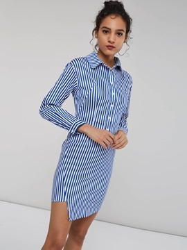Stripe Single-Breasted Women's Shirt Dress