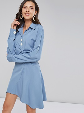 Long Sleeve Lapel Button Women's Casual Dress