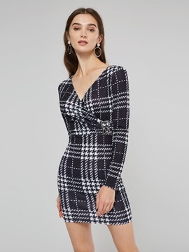 Houndstooth V-Neck Women's Long Sleeve Dress