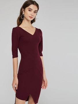 V-Neck Half Sleeve Women's Sheath Dress