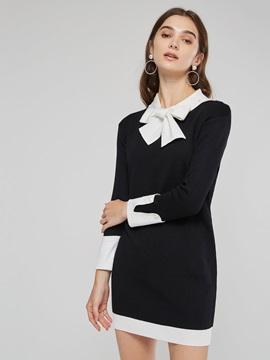 Bowknot  Women's Long Sleeve Dress