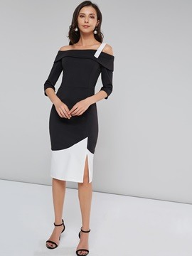 Slit One shoulder Women's Long Sleeve Dress