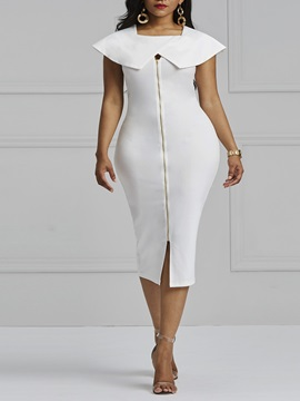 Off-White Plain Zipper Women's Bodycon Dress