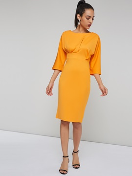 3/4 Length Sleeves Pleated Women's Sheath Dress