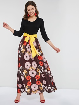 Floor-Length Round Neck Print Women's Maxi Dress