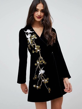 Above Knee V-Neck Embroidery Long Sleeve Spring Women's Dresses