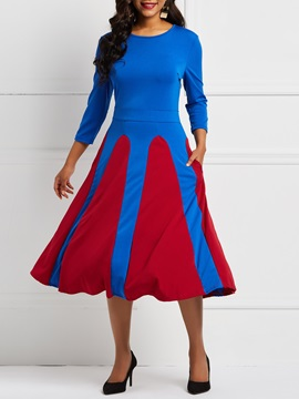 Long Sleeve Elegant Color Block Skater Women's Dress