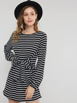 Lace-Up Regular Pullover Women's A-Line Dress