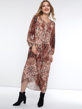 Long Sleeve Print Pullover Spring Women's A-Line Dress