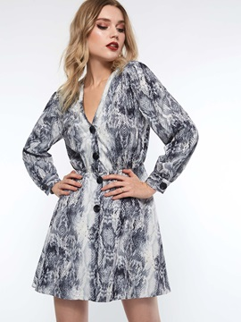 Long Sleeve Button Print Serpentine Women's Casual Dress