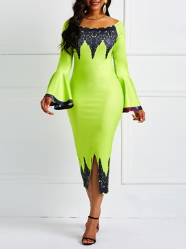Slash Neck Long Sleeve Lace Women's Bodycon Dress