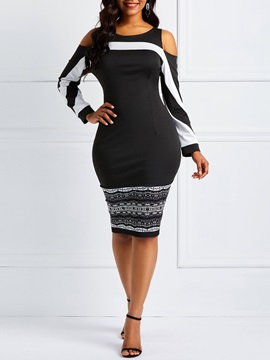 Color Block Patchwork Pullover Women's Bodycon Dress