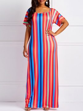 Patchwork Pullover Stripe Women's Maxi Dress