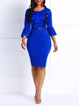 Bowknot Belt Fall Plain Women's Bodycon Dress