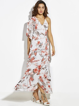 Beach Look Print Pullover Ankle-Length Women's A-Line Dress