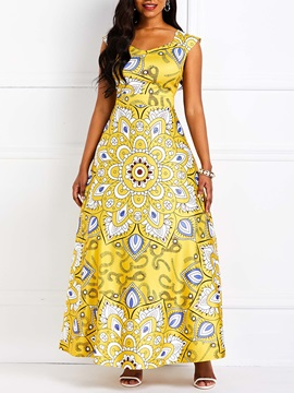 Sleeveless African Fashion Floral Backless Women's Maxi Dress