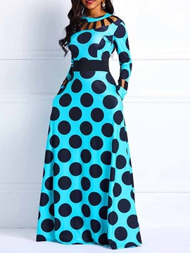 Long Sleeve Polka Dots Vintage Pullover Women's Maxi Dress