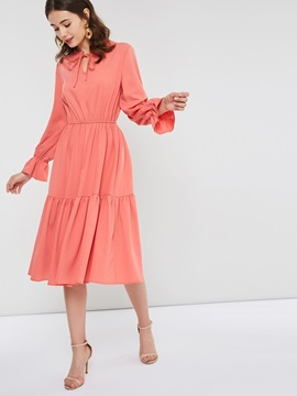 Knee-Length Pleated Pullover Plain Women's Maxi Dress