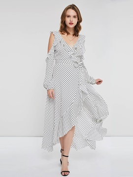 Long Sleeve V-Neck Polka Dots Regular Women's Maxi Dress