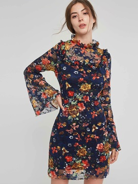 Stand Collar Button Long Sleeve Floral Women's A-Line Dress