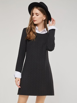 Button Polo Neck Regular Pullover Women's A-Line Dress