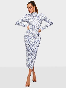 Ankle-Length Print Long Sleeve Polyester Women's Bodycon Dress